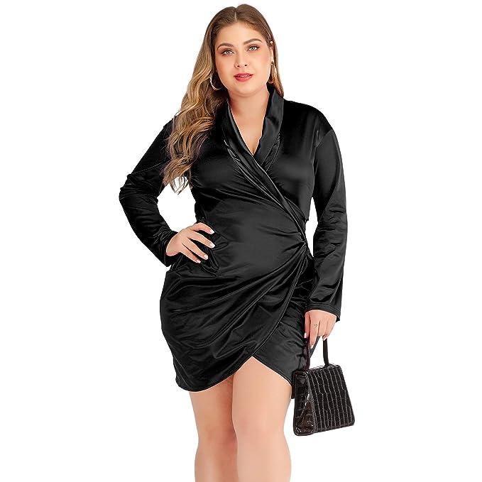 Womens Plus Size Deep V Neck Bodycon Wrap Satin Club Dress 1XL 2XL 3XL