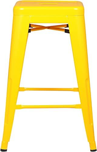 Poly and Bark Trattoria 24 Counter Height Industrial Bar Stool, Stackable, Yellow Set of 4