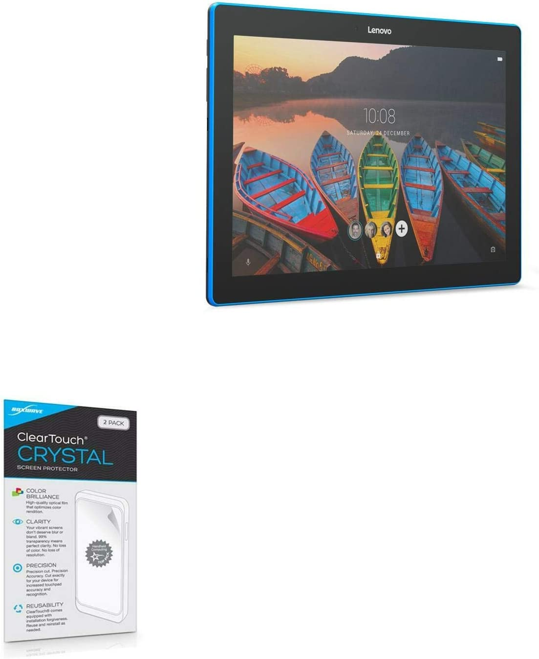 Lenovo TAB 10 TB-X103F Screen Protector, BoxWave [ClearTouch Crystal (2-Pack)] HD Film Skin - Shields from Scratches for Lenovo TAB 10 TB-X103F
