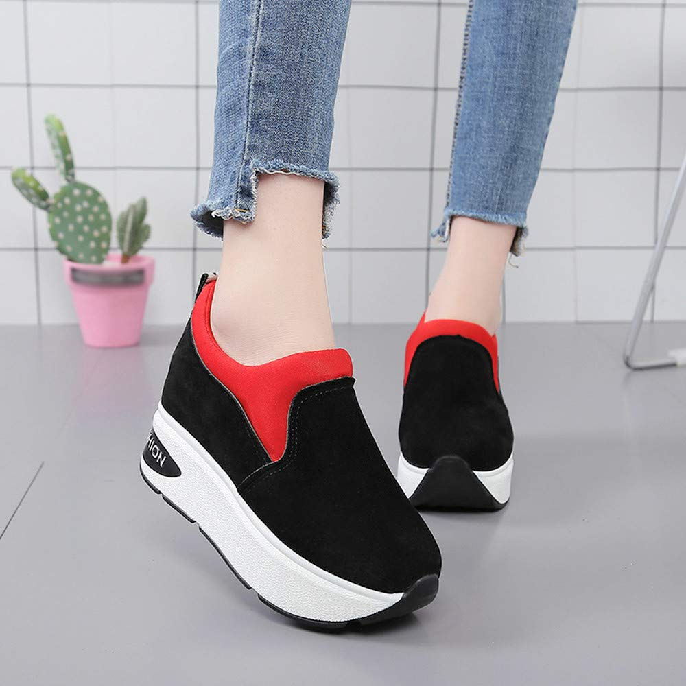Claystyle Women Fashion Sneakers Sports Running Hiking Thick Bottom Platform Shoes(Red,US: 6.5) by Claystyle Shoes (Image #3)