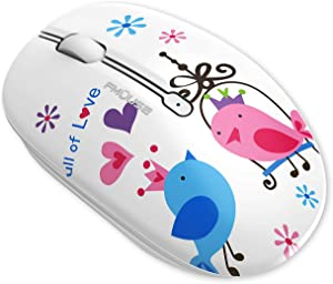 TENMOS M102 Bluetooth Wireless Mouse, Silent Cute Bluetooth 5.1+2.4G Dual Mode Wireless Computer Mice Bluetooth Mouse for Laptop, iPad, MacBook, PC (Bird)