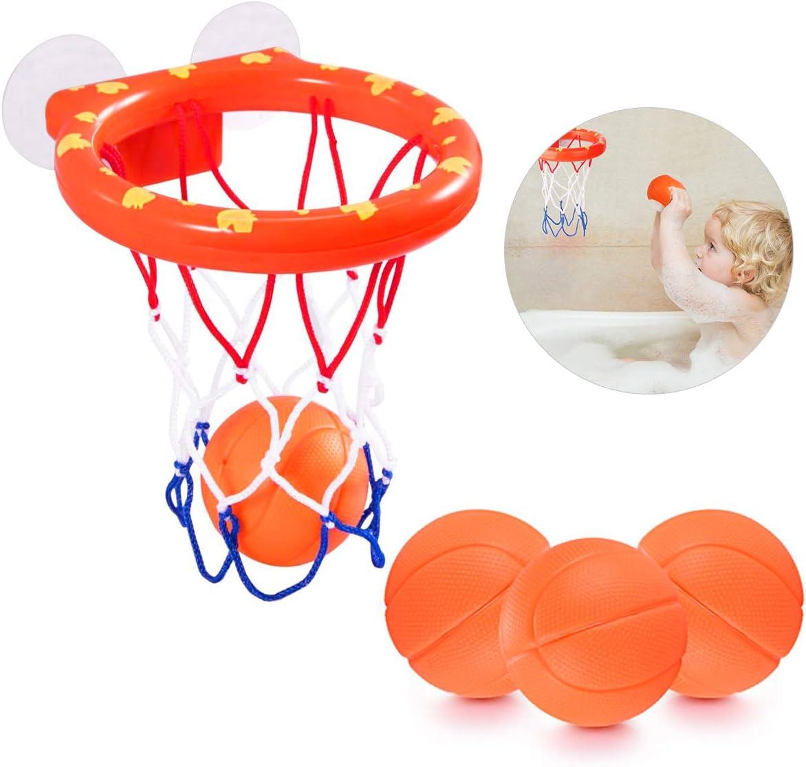 NATUCE Juguetes de baño,Mini Baloncesto aro Set & 3 Pelota con ...