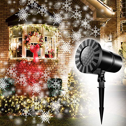 Moving Snowflakes Projector Light, White Christmas Projection Spotlight, LED Dynamic Snowflake Landscape Projector Light for Indoor/Outdoor Decor, Xmas Halloween Decoration, Wall Light, Party Light -