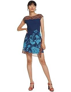 Desigual Short Sleeve Blue Dress Osages Robe Woman Femme qUSzMLpVGj