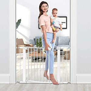 """Tokkidas Auto Close Safety Baby Gate, 29.5""""-40.6"""" Easy Walk Thru Child Gate for Doorways,Stairs,Includes 2.75"""" and 5.5"""" Extension,4 Pack Pressure Mounts and 4 Pack Wall Cups"""