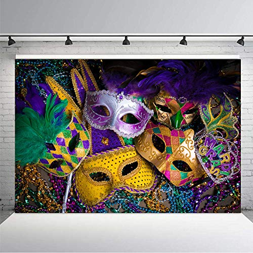 KSZUT 7x5ft Masquerade Photography Backdrop Mardi Gras Mask Colorful Poster Photo Backgrounds Party Banner Decoration 187-5 ()