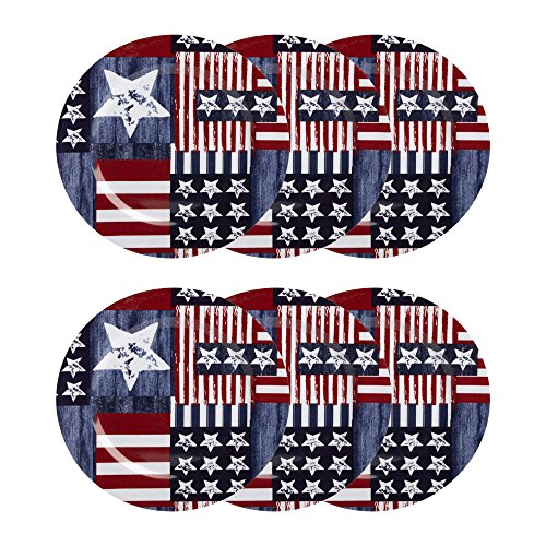 Flag Set Plate (Nantucket Home American Flag Patriotic Quilted Melamine Dinner Plates, Set of 6)