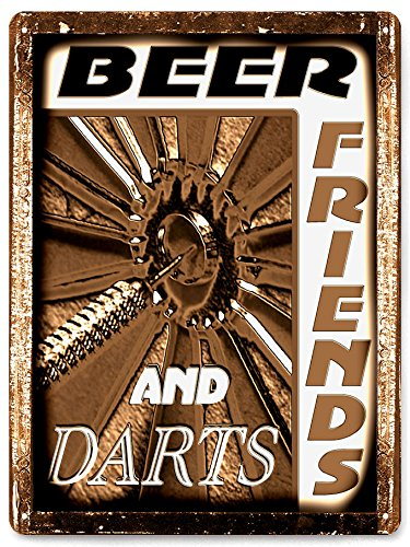 DART BOARD METAL beer sign funny vintage style bar pub mancave game room wall decor ()