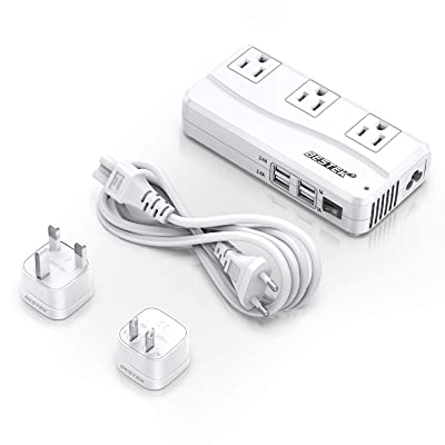 BESTEK Universal Travel Adapter 220V to 110V Voltage Converter with 6A 4-Port USB Charging and UK/AU/US/EU Worldwide Plug Adapter (White): Electronics