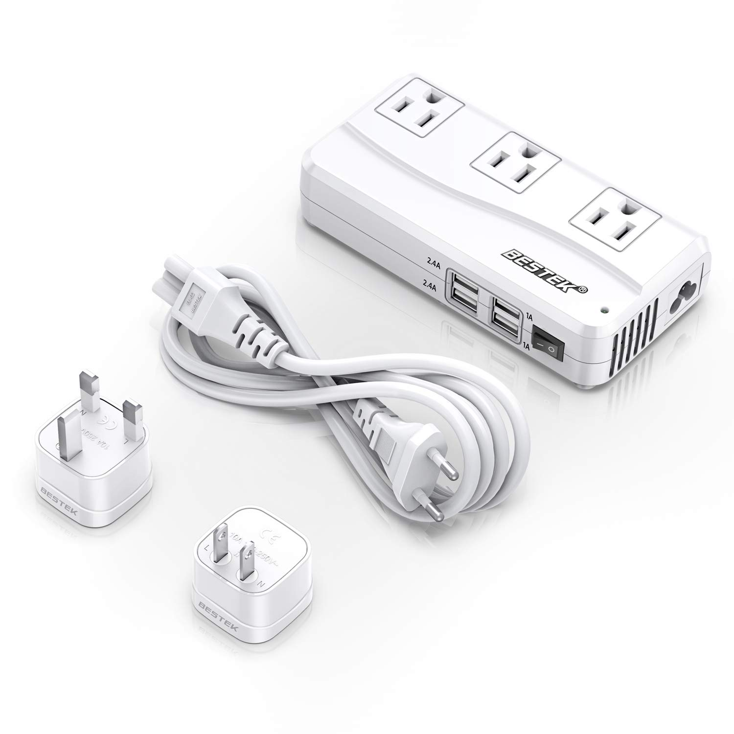 BESTEK Universal Travel Adapter 220V to 110V Voltage Converter with 6A 4-Port USB Charging and UK/AU/US/EU Worldwide Plug Adapter (White) by BESTEK