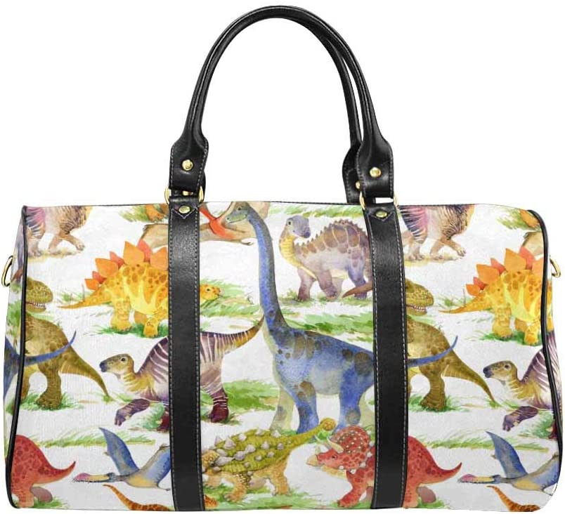 InterestPrint Carry-on Garment Bag Travel Bag Duffel Bag Weekend Bag Cute Dinosaurs Animal