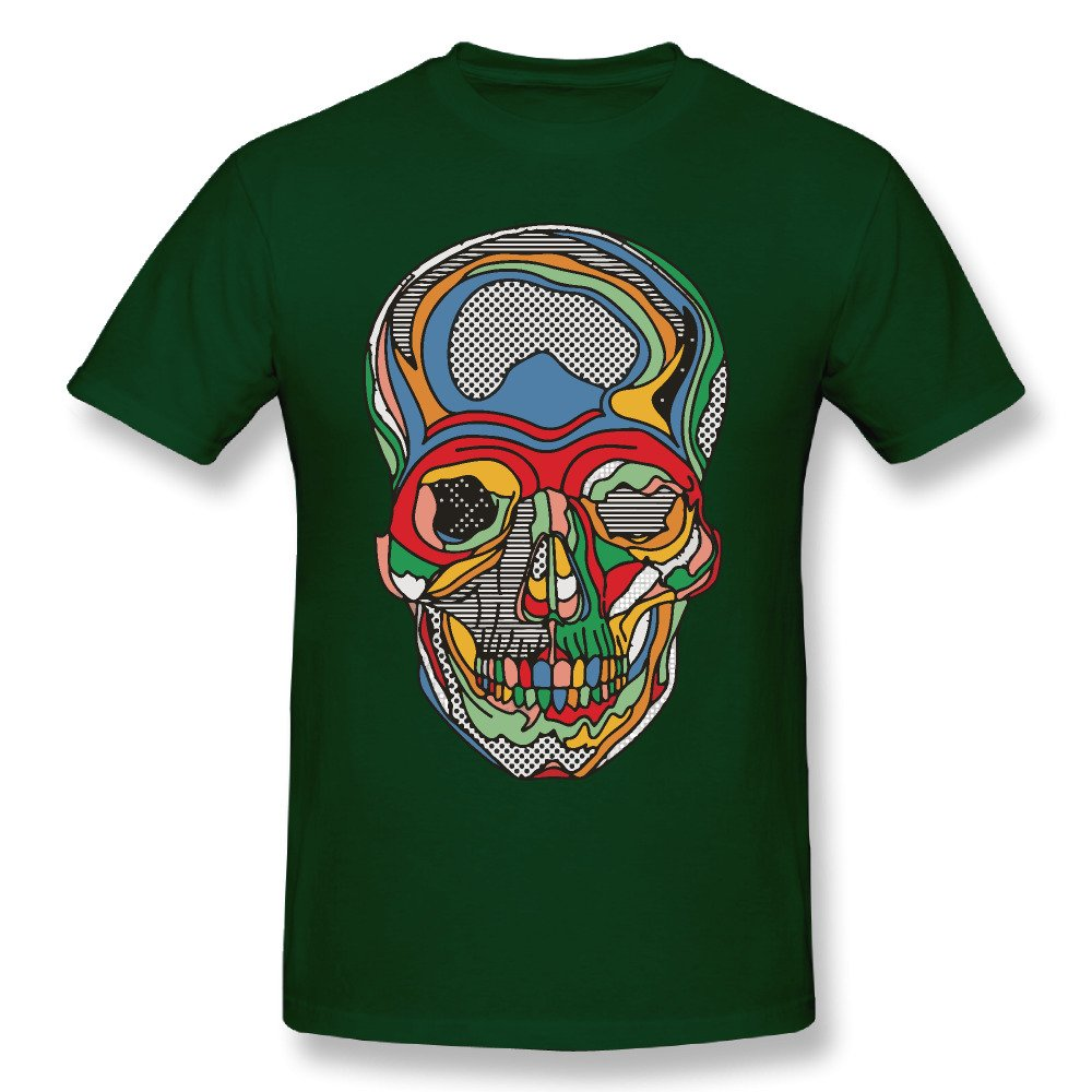 Mens Novelty Cotton T Shirt Colorful Skull Crew Neck Summer T-Shirt Forest Green