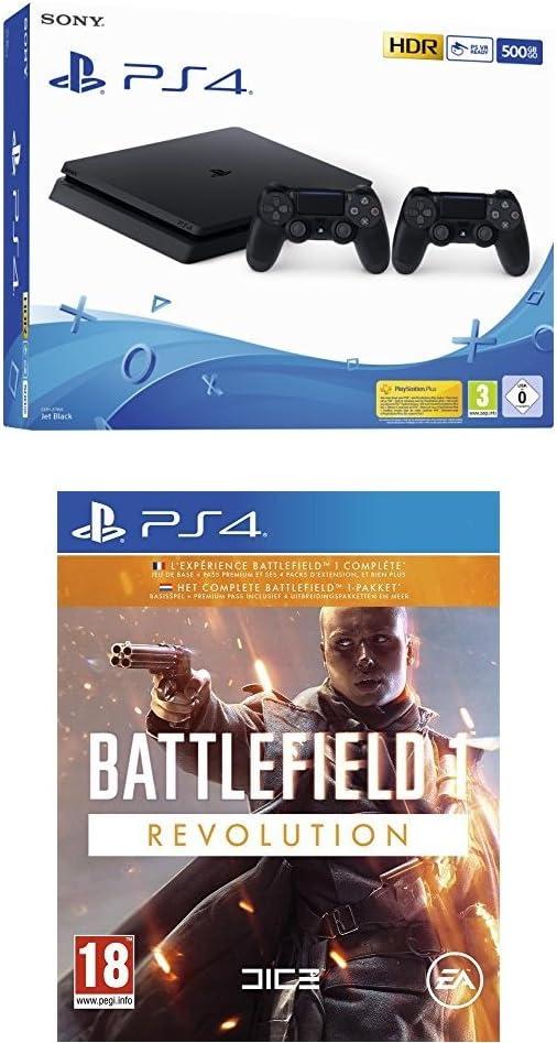 Playstation 4 (PS4) - Consola 500 Gb + 2 Mandos Dual Shock 4 (Edición Exclusiva Amazon) + Battlefield 1 - Edición Revolution: Amazon.es: Videojuegos