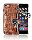 iPhone6 Plus (5.5' Screen) Key Chain [4 Card Slot] [Slim Fit] Crocodile Leather Front Shield Screen Back Bumper Magnetic Holder Purse Diary Cover Apple iPhone 6 Plus Charm Wallet Case (Metal Brown)