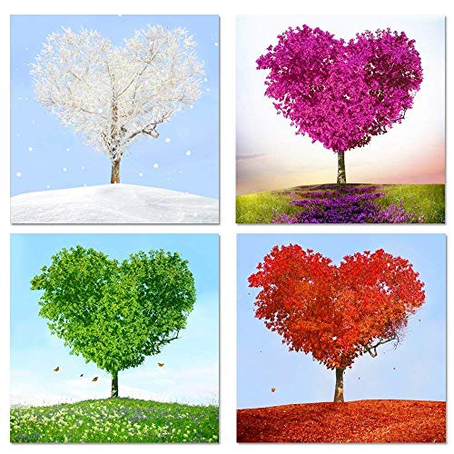 "Sea Charm - 4 Piece Canvas Wall Art,Love Heart Shaped Trees Picture Canvas Prints Nature Landscape Painting Giclee Artwork Printed,Romantic Home Bedroom Decoration Ready to Hang (12""X 12""x 4 pcs)"