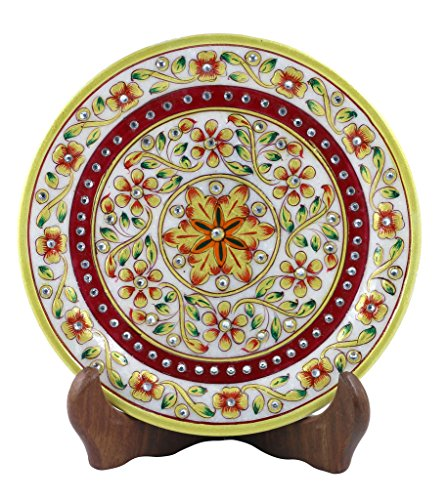 Set Of 1 Pcs White Marble Decorative Plates Meenakari Designe Plate with Stand -Style Souk (Halloween Electric Eye Lyrics)