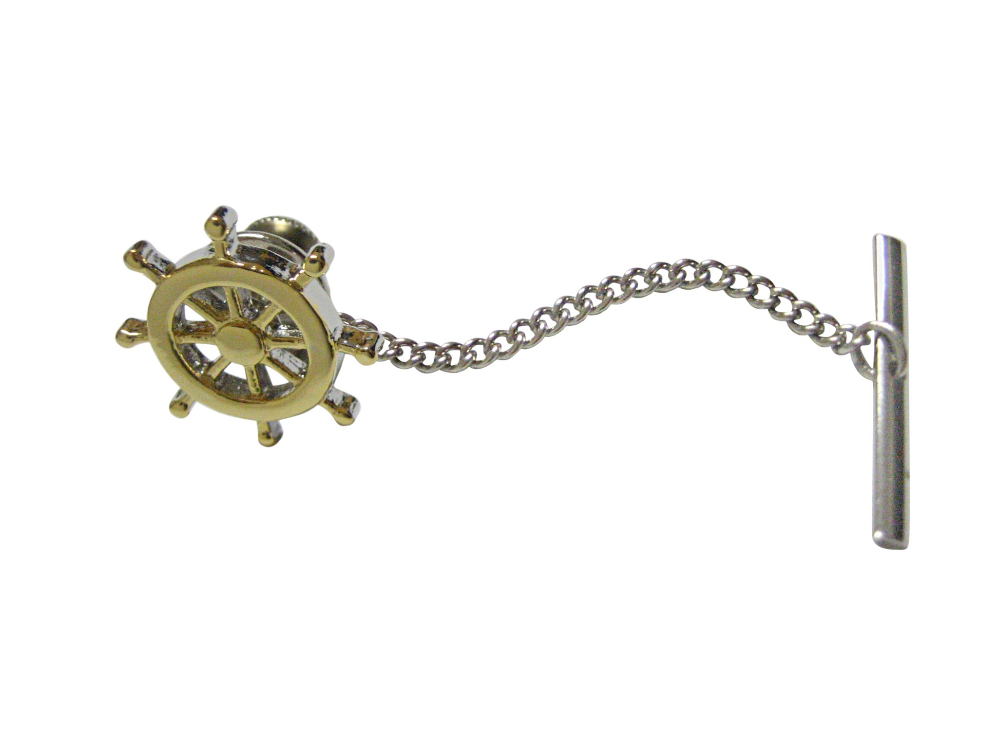 Gold Toned Nautical Steering Helm Tie Tack