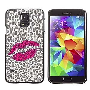 Be Good Phone Accessory // Dura Cáscara cubierta Protectora Caso Carcasa Funda de Protección para Samsung Galaxy S5 SM-G900 // Leopard Pattern Lips Pink Hot Love