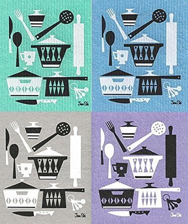 Trendy Tripper Schwedische Abwaschtücher, Retro Skandinavischen  Küchenhelfer Design   Set Von 4 Kühlen Farben Blue
