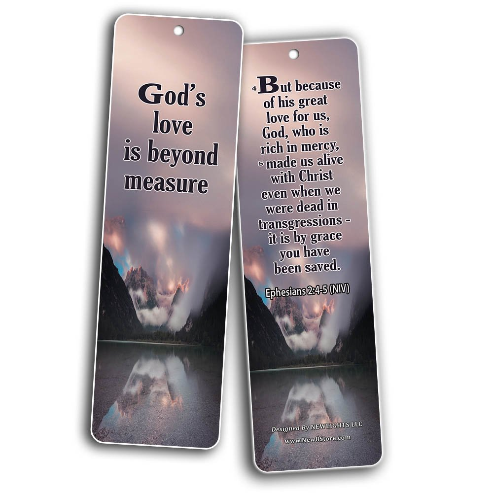 Popular Bible Verses About God's Love Bookmarks Cards (60-Pack) - Assorted Bulk Pack - John 3:16 Psalm 46:1 - Gift Ideas for Sunday School, Youth Group, Church Camp, Bible Study, Baptism, Homeschool by NewEights (Image #5)