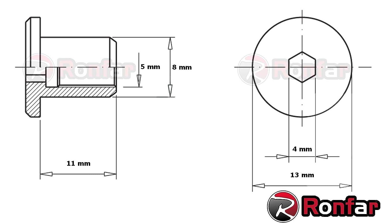 RONFAR H/ülsenmutter mit Flachkopf-Innensechskant M6 x 15 x 15 mm 50 St/ück
