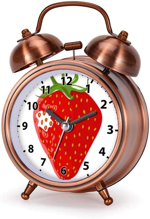 GIRLSIGHT Alarm Clock for Bedroom, Silent Non Ticking Double Twin Bell Child Alarm Clock Loud Home Alarm Clock with I Love Strawberries! Kid's Adjustable Strap Dial