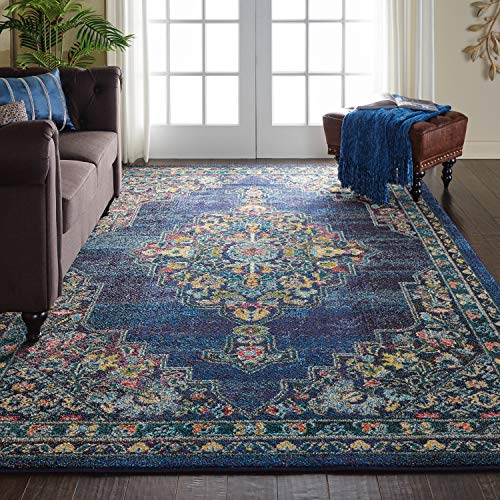 Nourison PST01 Passionate Persian Traditional Navy Area Rug 6'7