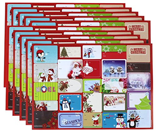Peel and Stick Adhesive Christmas Holiday Gift Tag Labels - 250-Count