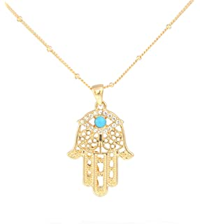 9ct gold hamsa hand pendant necklace on chain 20 inches all gold tone turquoise blue bead and crystal hamsa fatima hand pendant necklace in organza bag mozeypictures Gallery