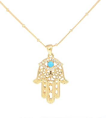 Gold tone turquoise blue bead and crystal hamsa fatima hand pendant gold tone turquoise blue bead and crystal hamsa fatima hand pendant necklace in organza bag mozeypictures
