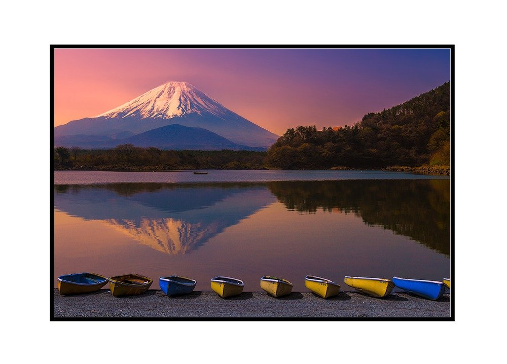 36x24 Gallery Wrapped Stretched Canvas Japan Mount Fuji Reflection Canoes by Lake