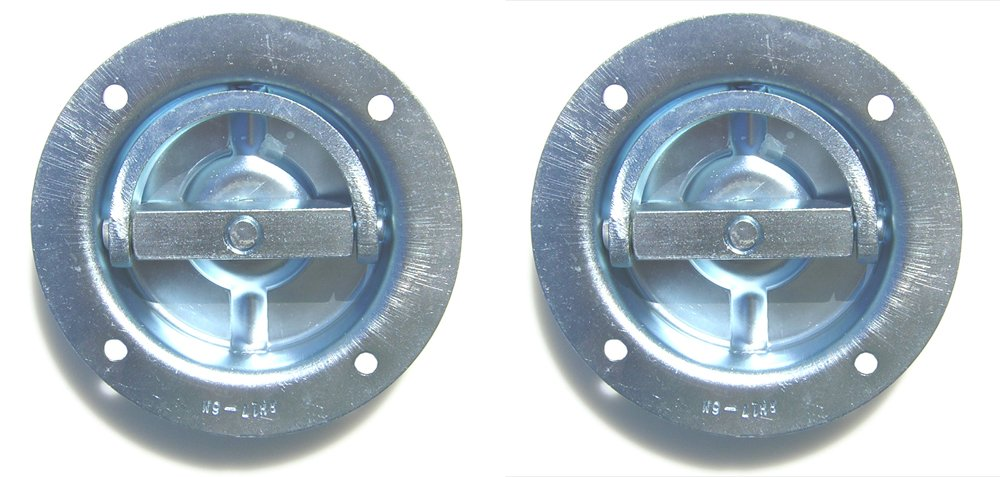 Pit Posse 11007-2 Two Cargo Trailer Recessed Rotating D Rings Floor Rope Anchor 4333030253