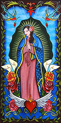Lady of Guadalupe by Melody Smith Catholic Tattoo Artwork Canvas Fine Art Print by Black Market Art