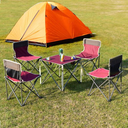 lunanice Red Portable Folding Table Chairs Set Outdoor Camp Beach Picnic w/Carrying Bag