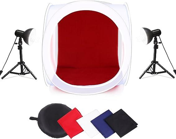 Amzdeal Caja de luz 60cm * 60cm caja fotografia para foto estudio con 2 lámparas 45W y 4 fondos (rojo, blanco, azul, negro): Amazon.es: Hogar