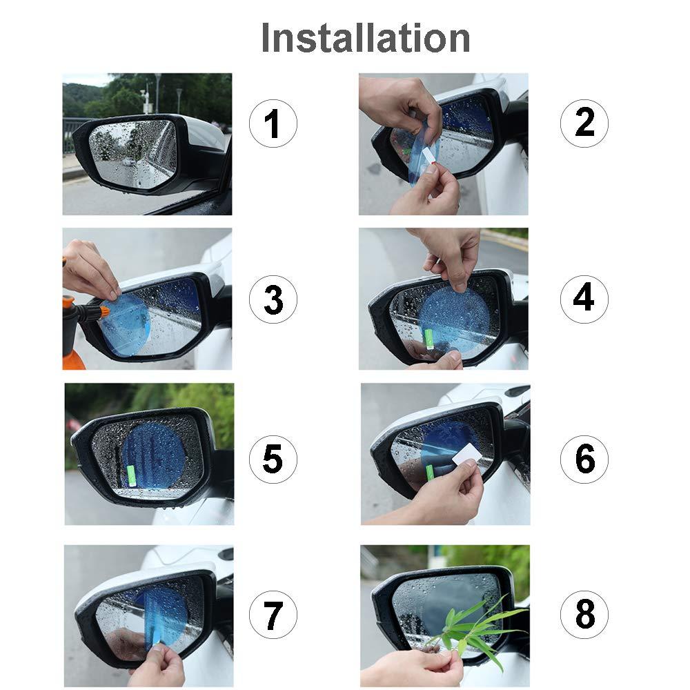 OfsPower Rearview Rainproof Membrane White 2-PCS Anti Fog Mist Glare Scratch, Waterproof Rear View Film, Mirror Window Protective Car Accessories, Circle
