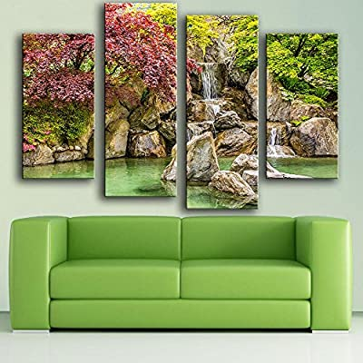 Link Line New Product Print Oil Painting Wall Painting 4Pc/Set Park Reservoir Rocks Waterfall Wall Art Picture For Living Room Painting