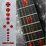 Fret Markers for Guitar & Bass Inlay Sticker Decals - Dripping Blood Iron Cross