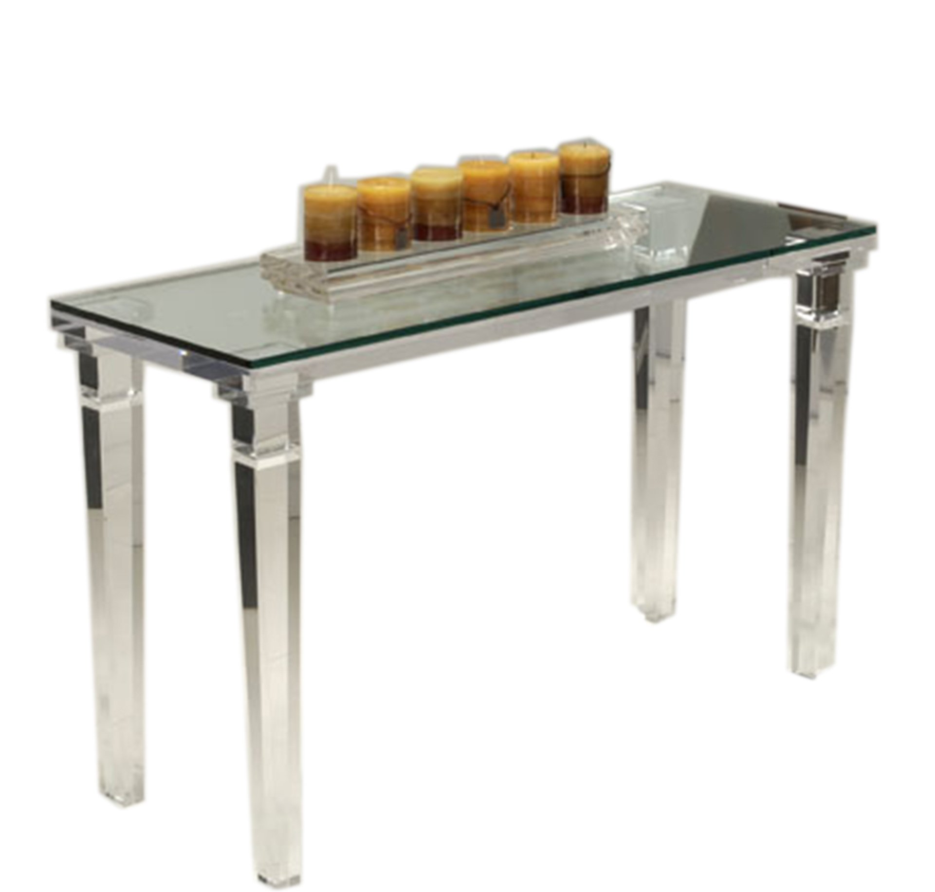 Shahrooz CHAT900-S-GT1848 Acrylic Chateau Console Table, Transparent