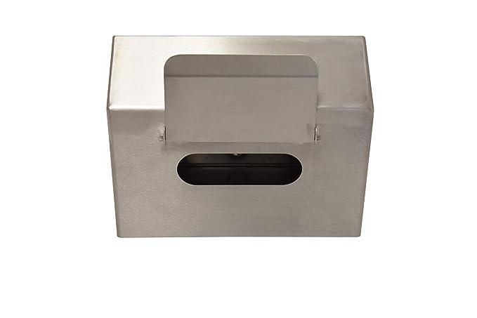 Robusto dispensador de caja de guantes montado en la pared con solapa, acero inoxidable | Top inclinado | Sin piezas de plástico - 258 x 96 x 190 mm: ...