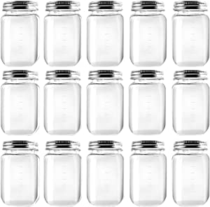 Novelinks 16 Ounce Clear Plastic Jars Containers With Screw On Lids - Refillable Round Empty Plastic Slime Storage Containers for Kitchen & Household Storage - BPA Free (15 Pack)