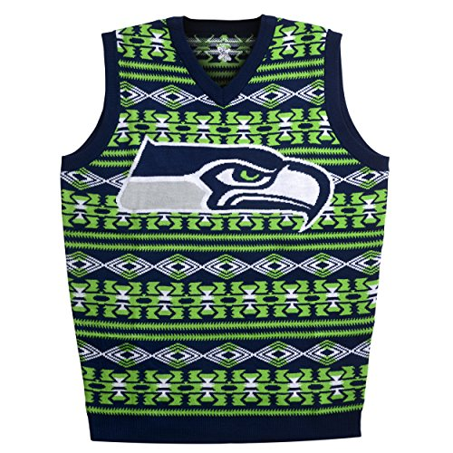 Seattle Seahawks Aztec Print Ugly Sweater Vest Medium