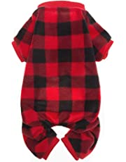 SCENEREAL Pet Pajamas for Dogs Red Plaid Sweaters Soft Clothes
