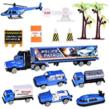 Police Cars Play Set 14 pcs Blue Car Diecast Metal Car Set for Kids Police Patrol Play Set for Boys Navy Trucks Holiday Gift with Helicopter, Jeep, Boat, Truck, Trees and Accessories