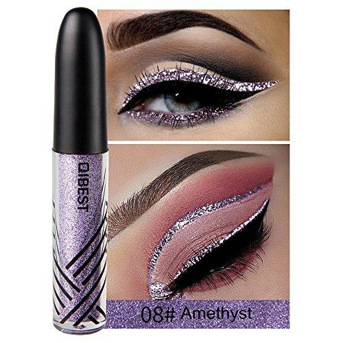 13 Shades Eyeliner Metallic Shiny Smoky Eyes Eyeshadow Waterproof Glitter Liquid Beauty Eyeliner (8#) (Best Brow Wiz Dupe)