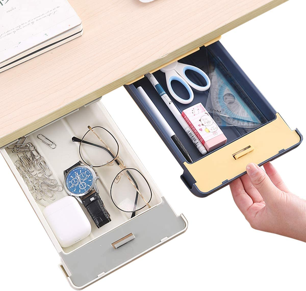 Desk Pencil Drawer Organizer with Buckle, Large Capacity Pop-Up Student Storage Hidden Desktop Drawer Tray, Great for Office School Home Desk (2-Pack) (Gray)