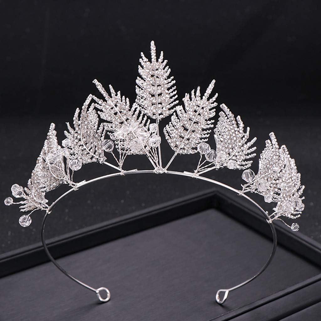 Kristall Prinzessin Krone Rhinestone K/önigin Diadem,Metall HaarbandCrown Full Diamond Zircon Bl/ätter Schneeflocke Hohl Stirnband Damenschmuck