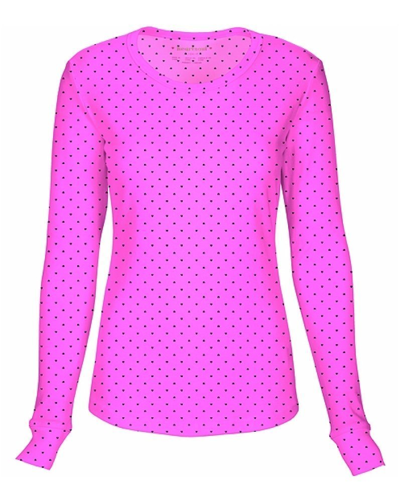HeartSoul 20801 Junior's LS Round Neck Tee Never-Ending Love Pink Party Small