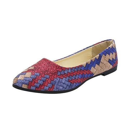 OHQ Zapatos Casuales De Primavera De Las Mujeres Zapatos Casuales Mujer Zapatos Femeninos Bastante Planos Azul