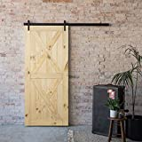 """knotty pine cabinets BELLEZE 36"""" x 84"""" inches DIY Sliding Barn Door Natural Wood Pine Unfinished Single Door Only Pre Drilled (3 ft X 7 ft), Double X"""